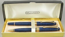 Montefiore Marble Blue & Gold Rollerball & Ballpoint Pen Set In Box - New