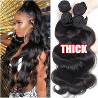 Brazilian Body Wave Virgin Human Hair THICK Weft 3 Bundles Weave Extensions Long