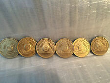 Lot of 6 Alcoholics Anonymous AA Bronze 24hrs 1 2 3 6 9 Month Medallions Chips