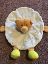 Haba Boys Blue Fleece Circle Lovey Security Blanket Brown Teddy Bear