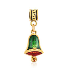 18K gilded Christmas LAMPWORK fit European Charm Bracelet pendant Chain #F318
