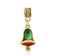 18K gilded Christmas LAMPWORK fit European Charm Bracelet pendant Chain #D318