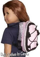 """Pink Gray & Black School Backpack fits 18"""" American Girl Size Doll"""
