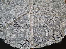ANTIQUE LACE-CIRCA 1900 's, ROUND CREAM LACE TABLECLOTH W/ROSES