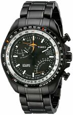 NEW TX TIMEX INTELLIGENT AVIATOR FLY BACK,BLACK ION PLATED S/STEEL WATCH-T2P103
