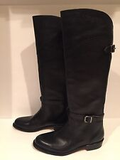 Frye Riding Boots Knee High Tall Flat Leather Pull On Black 6 Spain