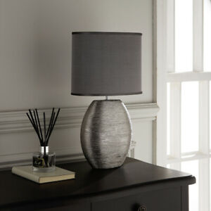Silver Ceramic Table Lamp with Grey Shade, in an Oval Shape with Oval Shade