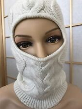 Moncler Women's Balaclava Virgin Wool Cable Knitted Niqab Hijab Cap Hat One Size
