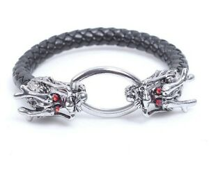 schwarzes Drachenarmband Lederarmband dragon bracelet Gothic Drachenkopf Asia