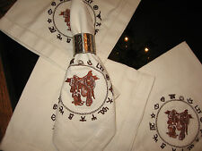 WESTERN TABLE NAPKINS SADDLE BOOTS EMBROIDERED BRANDED DESIGN 20X20 100% COTTON