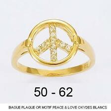 Bague T50 Peace And Love Pavé Cz 11mm Plaqué Or 18K 5 Microns Dolly-Bijoux