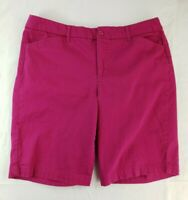 St Johns Bay Womens Size 16 XL Stretch Bermuda Shorts Pink Chino