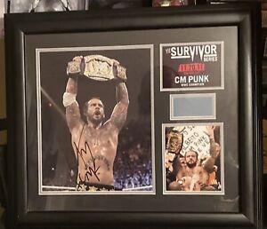 WWE CM PUNK Autographed Plaque Survivor Series 36/500 W/ Piece Of Mat COA 2011