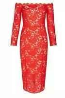 Coast Bardot Yasmin Red Lace Shift Pencil Dress Size 14 Cruise Party