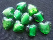 10 Silver Foil Glass Heart Lampwork Beads 12mm - DARK EMERALD GREEN