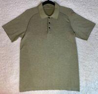 Lululemon Mens Green Stripe Metal Vent Tech Polo SS Shirt Top - Size Medium M
