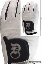 Men Golf Glove LH white HQ soft Micro Fiber, Cabretta leather palm patch & thumb