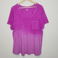 Lane Bryant Pink Ombre Scoop Neck Lightweight Tee Short Sleeve T-Shirt Sz 26/28