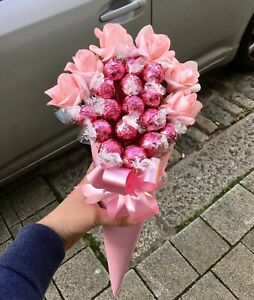 Pink Roses Chocolates Bouquet Gift Hamper For Any Occassion Brithday Thank you