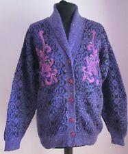 VTG Ladies WONGKONG Purple Patterned Cowl Neck Acrylic Cardigan Size Large