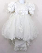 Girls Confirmation Wedding Dress Sz 4 White Beaded Sequin Tulle Crinoline Train