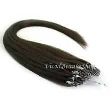 100 Micro Loop Ring Beads I Tip Indian Remy Human Hair Extensions Dark Brown #2