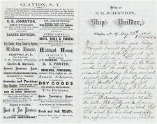 RARE Letterhead & Signed Letter- Capt Simon Johnston Shipbuilder 1875 Clayton NY