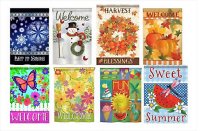 "Premium Seasonal Outdoor Garden Flags - 8 Pack - 18"" x 12"" Large Yard Signs"