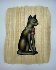 """EGYPTIAN Papyrus Painting - Pharaoh Cat Bastet - Large Size:  13"""" x 17"""""""