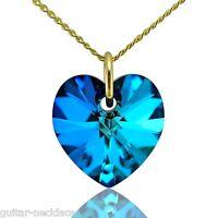 9ct Gold Herz Halskette Schmuckset mit Swarovski Kristall Anhänger Charme