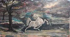 Vintage impressionist landscape oil painting horse signed