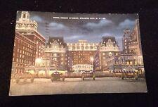 Vintage 1945 Atlantic City NJ Hotel Dennis At Night Postcard
