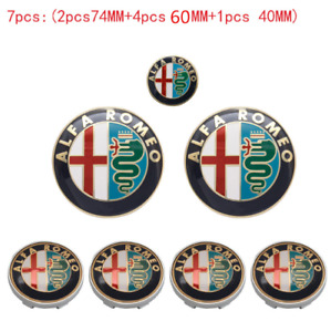 7pcs ALFA ROMEO Car Badge Stickers 74mm Hood/Rear+60mm Wheel+40mm Steering Wheel