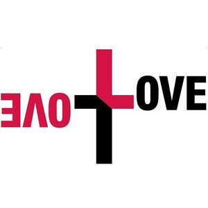 SALE Black Red Love Intertwined Cross Quote Wall Art Fun Vinyl Decal Transfer