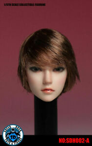 SUPER DUCK SDH002A 1/6 Asia Female Short Hair Head Sculpt Fit 12''PH Figure Body