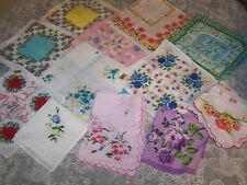 Vintage style ladies handkerchiefs; 12 different floral hankies; craft; wedding