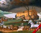 NOAH'S ARK ANIMALS CHRISTIAN BIBLE FOLK ART PAINTING REAL CANVAS GICLEEPRINT