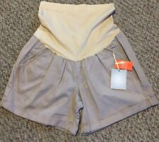 NWT Maternity a:glow Belly Panel Cuffed Twill Shorts Size 12