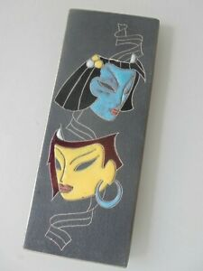 Ruscha Keramik Wandplatte Wandfliese Wandteller 734/0 Masken Welling