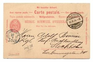 SWITZERLAND: PS  doubble postcard to Sweden 1904, arr.canc.