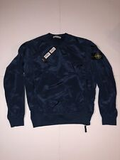 Stone Island Nylon Metal Crewneck Pullover Blue Navy Sweater Shiny