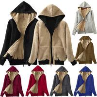 Women's Hooded Outerwear Sweatshirt Winter Cotton Sherpa Lined Zip Jacket Coat