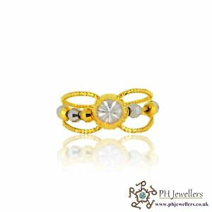 22ct 916 Indian Yellow Gold Ring with Rhodium Size K  PR29