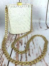 Vtg Rodo Wicker Purse Handbag Gold Tone Cream White Italy Monogram Interior