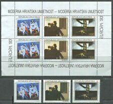 Croatia 1993 Europa Modern Art Sheet & Single Set Sc 159-161 161a MNH CV $13.50