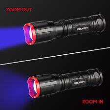 Zoom UV Ultra Violet Blacklight Portable Purple Light LED Flashlight Torch Lamp