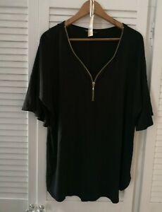 Simple Be Capsule Black  Zip Fronted Tunic Top With Fluted Sleeves Size 12