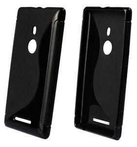 For Nokia Lumia 925 Case Cover S Line Silicone Gel Skin Anti-Slip, Black, Clear