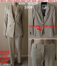NWT$306 Ann Taylor Linen Blend SignatureFit Pant Suit Jacket Size 2, Pant Size 0