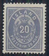 ICELAND #17a (15a) 20aur ultramarine, unused no gum , Scott $1,000.00